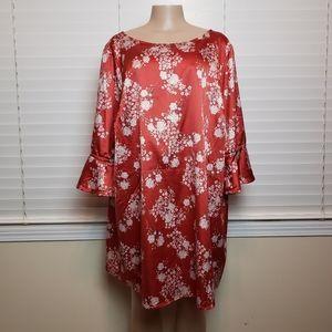 ELLOS Floral Silk Tie Back Plus Size Tunic Blouse